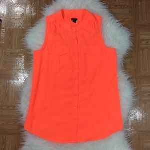 J. CREW Draped Pocket Tank 6 Neon Orange